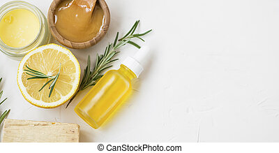 Organic natural skincare products with herbal lemon and rosemary oil, manuka honey , natural soap and salve balm