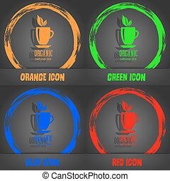 Organic natural tea icon. Fashionable modern style. In the orange, green, blue, red design. Vector