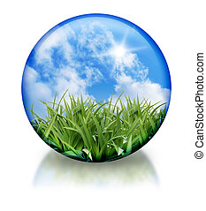 A nature circle, orb icon has green grass and a bright blue sky in it. There is a reflection on the bottom. Use this for a organic, nature icon.