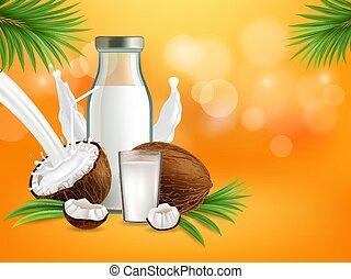 Organic non dairy coconut milk vector poster banner template