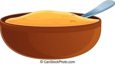 Organic oatmeal icon, cartoon style