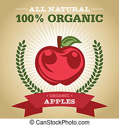 Organic Poster with Apple Icon