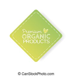 Organic product badge, green label with hand drawn lettering Natural cosmetics.
