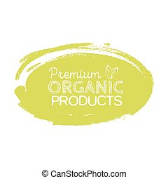 Organic product badge, vintage label with hand drawn lettering Natural cosmetics.