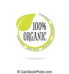 Organic product emblem on white background