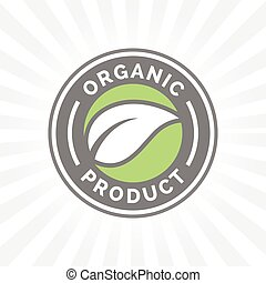 Organic product icon badge with leaf shape design.
