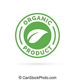 Organic product icon green stamp with leaf shape design.