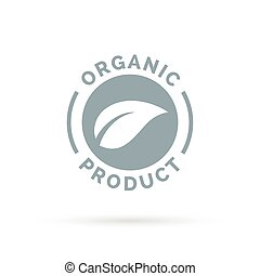 Organic product icon with leaf shape symbol.