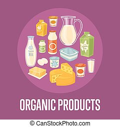 Organic products banner with dairy composition