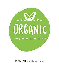 Organic products icon, food package label vector graphic design.