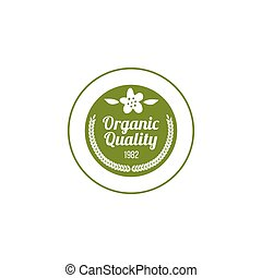 Organic quality badge a vector illustration isolated on a white background