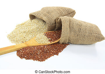 Organic Quinoa. - Picture of spilled from burlap sacks and...