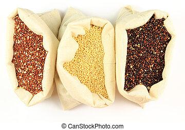 Organic Quinoa. - Seeds of Red, White and Black Organic...