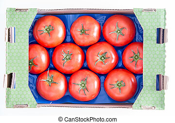 Organic Red Tomatoes on a Tray In a Box - Ten Organic Red...