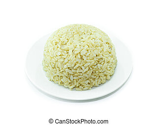Organic rice in dish on white background