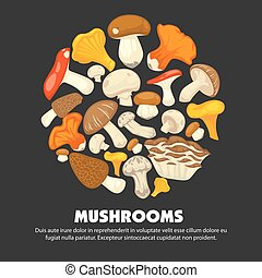 Organic ripe mushrooms grown at forest promotional poster -...