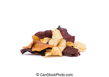 Organic Root Vegetable Crisps - Side view of organic Root ...