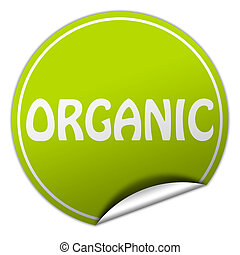organic round green sticker on white background