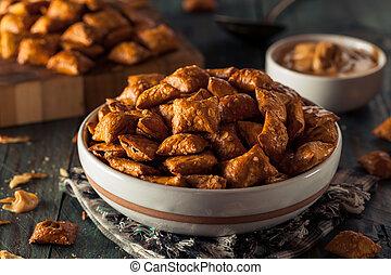 Organic Salty Peanut Butter Pretzel Bites in a Bowl