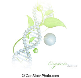 Organic Science theme with DNA and green leaves over white...