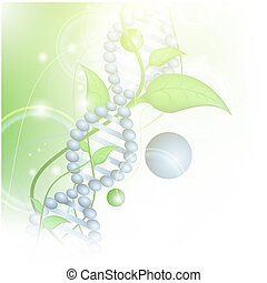 Organic Science theme with DNA and sprout over green...