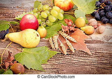 Organic seasonal autumn fruit on rustic wooden table