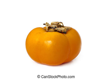 Side view of a sharon / persimmon white background.