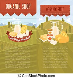 Organic shop banners with rural landscape