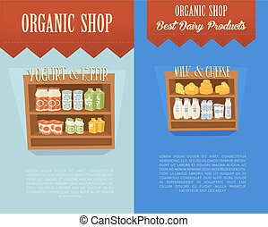 Organic shop banners with supermarket shelves
