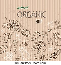 Organic shop concept with vegetables on cardboard.