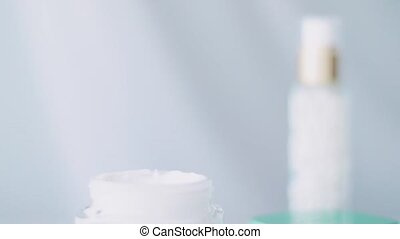 Organic skincare product, face cream jar or body lotion for healthy skin care routine, spa cosmetics and beauty brands, stock footage