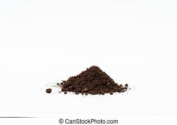 Organic soil on white background