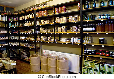 Organic Spices On Shelves In A Spice Market - Dry Daisy,...