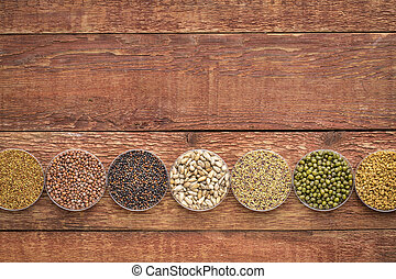 organic sprouting seeds on rustic wood