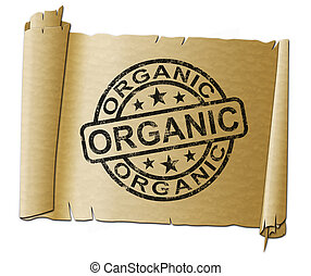 Organic stamp means 100% natural and green - 3d illustration