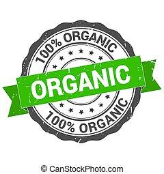 Organic stamp. Round grunge vintage ribbon Organic sign