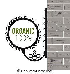 organic symbol on brick wall vector illustration