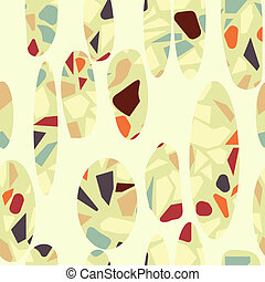 Organic terazzo abstract modern yellow green orange brown seameless pattern with off-white ovals.