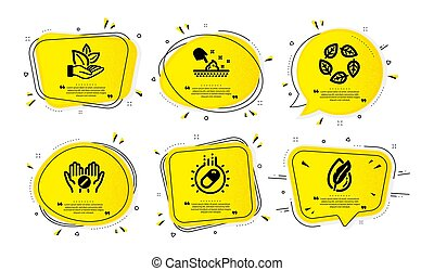 Organic tested, Organic product and Capsule pill icons set. Vector