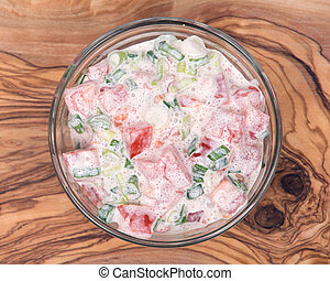Organic tomato and green onion scallion salad