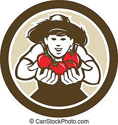Organic Tomato Farmer Boy Circle Retro