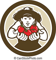 Organic Tomato Farmer Boy Circle Retro - Illustration of...