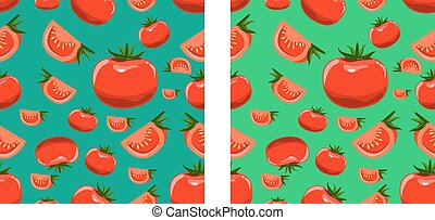 Organic Tomatoes seamless pattern. Flat color style illustrated vector.