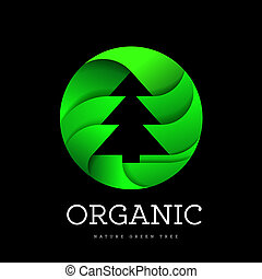 Organic tree spruce sign on a white background in the shape of a circle. Logo for organic and all that is connected with trees and nature
