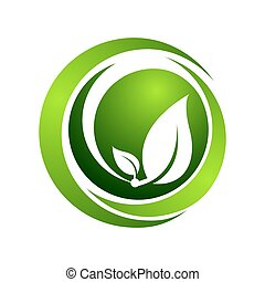 Organic vector logo template concept illustration. circle Green leaves sign. Abstract human character sign. Nature ecology symbol