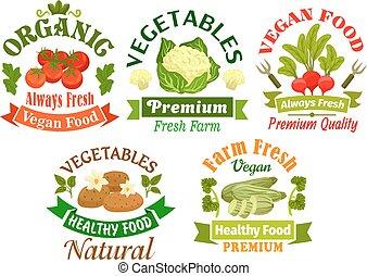 Organic vegan food emblems. Vegetarian vegetables