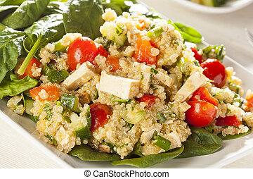 Organic Vegan Quinoa with vegetables like tomato, tofu, and ...