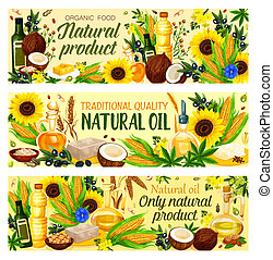Organic vegetable cooking oils vector - Natural cooking oils...