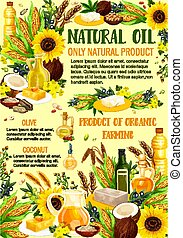 Organic vegetable oils products, vector - Vegetable oils and...