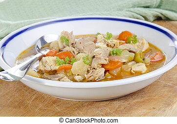 vegetable soup with chicken meat